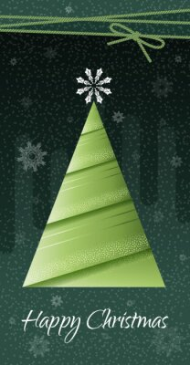Poster merry Christmas. Stylized fir tree with snowflake on a green background. Vector