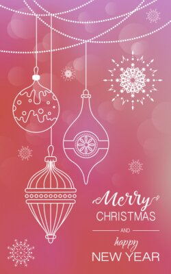 Poster with Christmas decorations, garland and snowflakes on red background and the words merry Christmas and Happy new year. Vertical. Vector