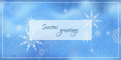 Poster with snowflakes on blue-light blue background with the words seasons greetins. Horizontal. Vector
