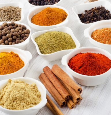 Canvas print Powder spices in bowls