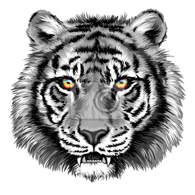 Canvas print Powerful tiger with bright eyes