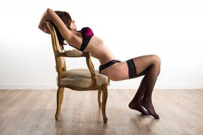 Canvas print Pretty girl in underwear