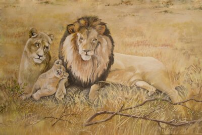 Canvas print Pride of lions on vacation