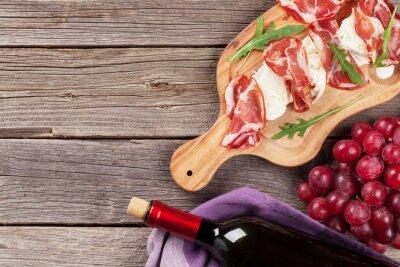 Canvas print Prosciutto and mozzarella with red wine