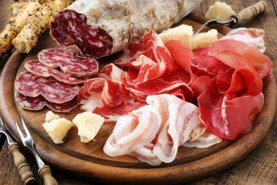 Canvas print Prosciutto ham, bresaola, pancetta, salami and parmesan