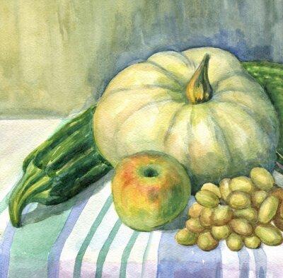 Canvas print Pumpkin, Apple, zucchini, grapes, still life. Watercolor painting