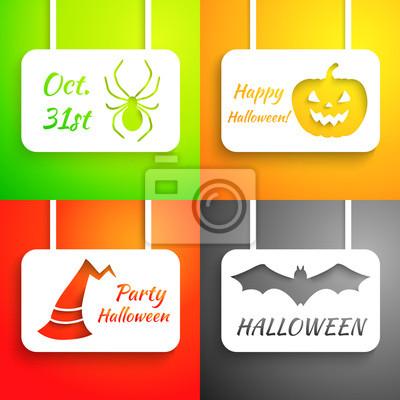 Pumpkin, bat, hat and spider paper applique background set.
