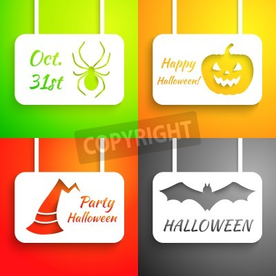 Pumpkin, bat, hat and spider paper applique background set. Vector illustration for your Halloween design. Holiday greeting card. Party poster. Green, orange, red and black color.
