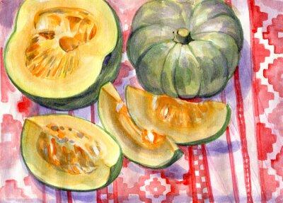 Canvas print Pumpkin. Still life. Watercolor painting