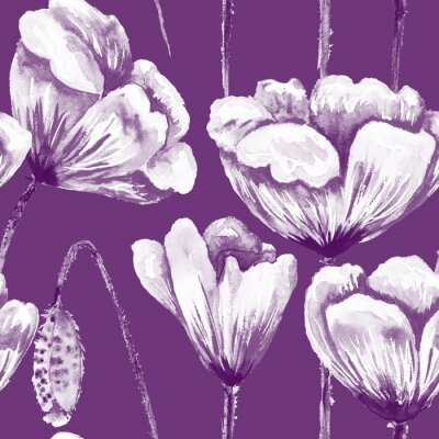 Canvas print Purple and white poppy pattern