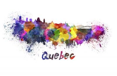 Canvas print Quebec skyline in watercolor