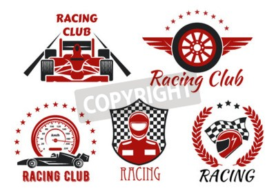Canvas print Racing club and motorsport competitions symbols with open wheel racing cars, racer, protective helmet and winged wheel, framed by speedometer, racing flag, checkered shield, laurel wreath and stars