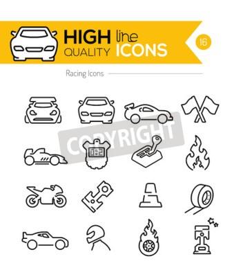 Canvas print Racing Line Icons