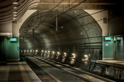 Canvas print railway station and tunnel