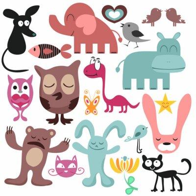 Canvas print Random set of various funny animals