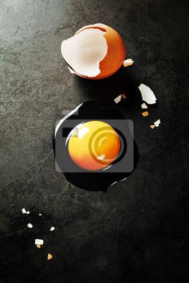 Canvas print Raw egg