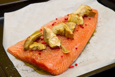 Canvas print raw salmon with artichokes and red pepper