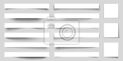 Canvas print Realistic paper shadow effects. Web banners shadows with corners. Poster flyer set. Vector sticker with curved edges cast shadows on a gray background