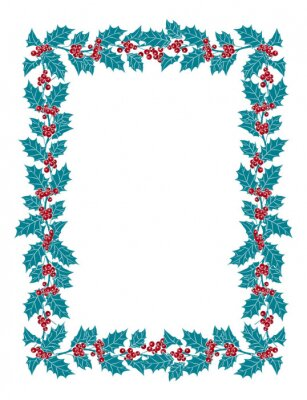 Rectangular frame of Holly on a white background. Preparation for Christmas decoration
