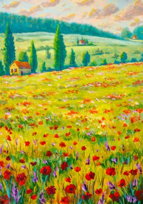 Red and purple flowers in yellow grass. Flower field, meadow flowers monet painting claude impressionism paint landscape. Oil painting on canvas.