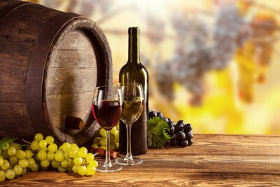 Canvas print Red and white wine bottle and glass on wodden keg