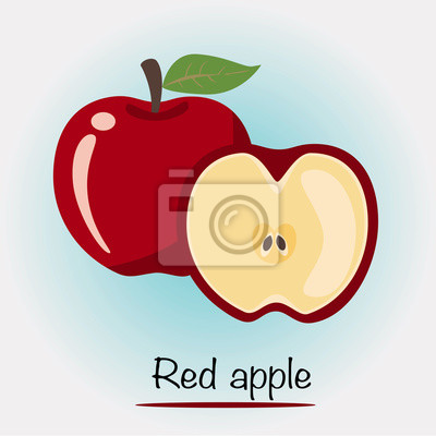 Red Apple Vector. Fruits and vegetables.