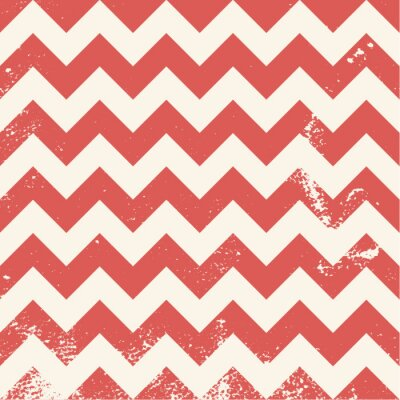 Canvas print red chevron pattern with distressed texture