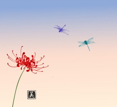 Red chrysanthemum flower and two dragonflies on sunrise sky background. Traditional Japanese ink wash painting sumi-e. Hieroglyph - beauty.