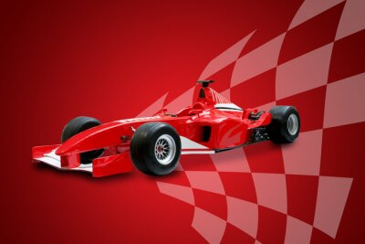 Canvas print red formula one car and racing flag