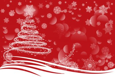 red greeting Christmas card with snowflakes