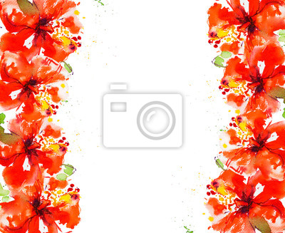 Red hibiscus flower frame. Watercolor painting. Exotic plant. Floral print. Sketch and blurry drawing. Botanical composition. Greeting card. Flower painted background. Hand drawn illustration.