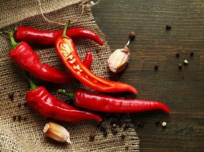 Canvas print Red hot chili peppers  and garlic,
