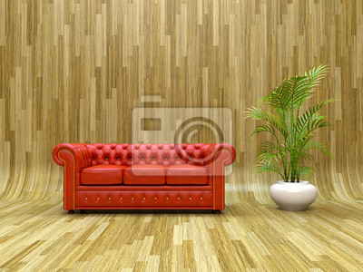 Canvas print Red leather sofa