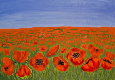 Canvas print Red poppies on meadow
