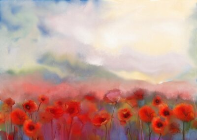 Canvas print Red poppy flowers filed  watercolor painting