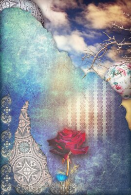 Canvas print Red rose in the blue starry sky
