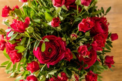 Canvas print red roses bouquet