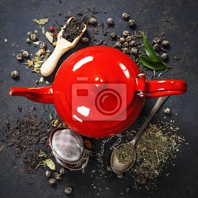 Canvas print Red Teapot