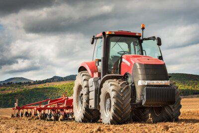 Canvas print Red tractor.