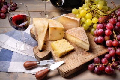 Canvas print Red wine, grapes and cheese