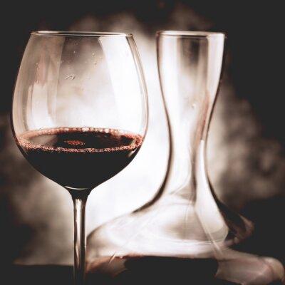 Canvas print red wine tasting - vintage style photo