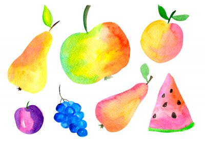 Red, yellow and orange juicy fruit hand painting illustration. Watercolor pear, apple, peach, watermelon, grapes, plum, set isolated on white background.