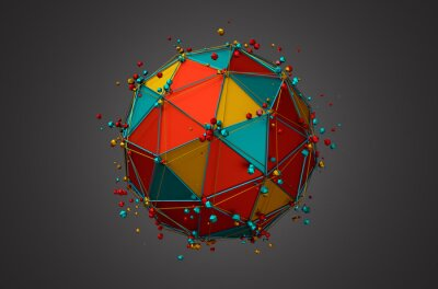 Canvas print Rendering of Sphere with Wireframe and Particles.