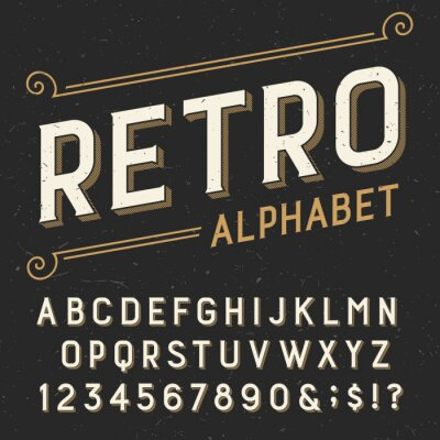 Canvas print Retro alphabet vector font. Serif type letters, numbers and symbols. on a dark distressed scratched background. Stock vector typography for labels, headlines, posters etc.