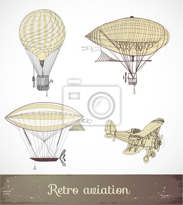 Canvas print Retro aviation collection, Vector illustration.