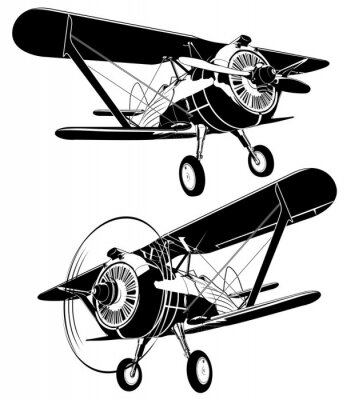 Canvas print retro biplane silhouettes set. Available EPS-8 vector format separated by groups and layers for easy edit
