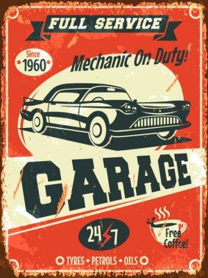 Canvas print Retro car service sign. Vector illustration.