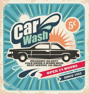 Canvas print Retro car wash poster