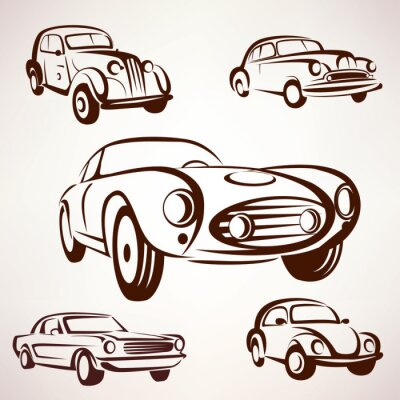 Canvas print retro cars vector collection deign elements fro labels and emble