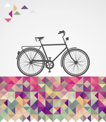 Canvas print Retro hipsters bicycle geometric elements.